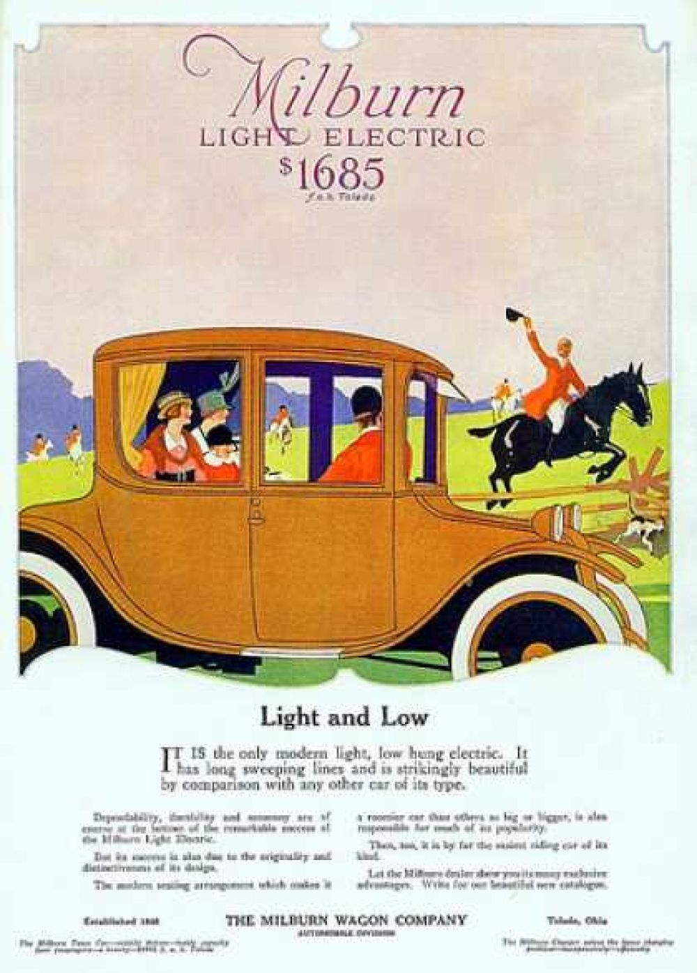 Реклама автомобиля Milburn Light Electric, 1917 год.