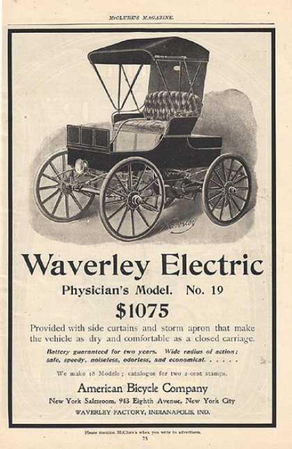 «Благодаря боковым шторам и ливневому тенту в этом автомобиле также сухо и комфортно, как в закрытой карете». Реклама автомобиля Waverly Electric, 1900 год.