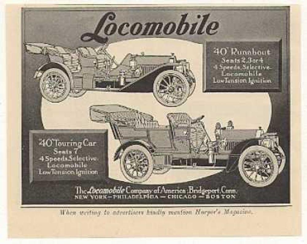 Реклама Locomobile 40, 1908 год.