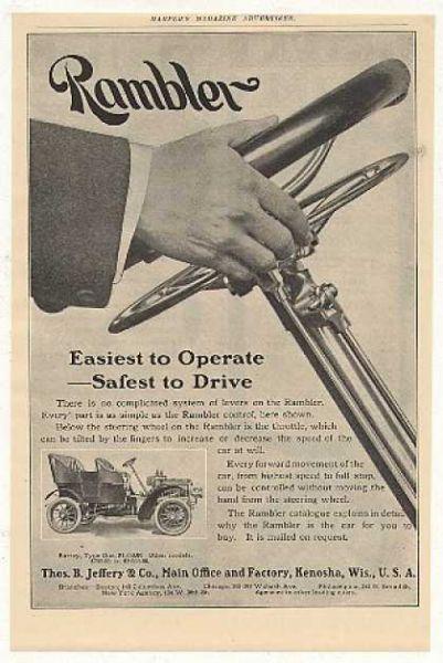 «Простой в управлении – безопасный при езде». Реклама автомобиля Rambler с новым рулевым управлением, 1905 год.