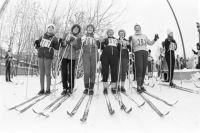 Лыжницы на стадионе имени С. М. Кирова. 1983 год.
