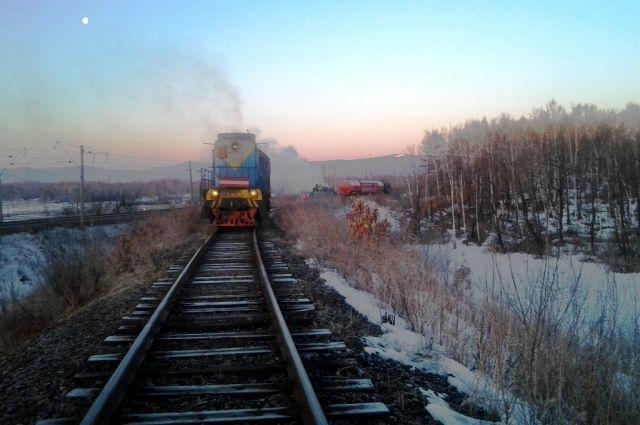 Пожар на железной дороге.