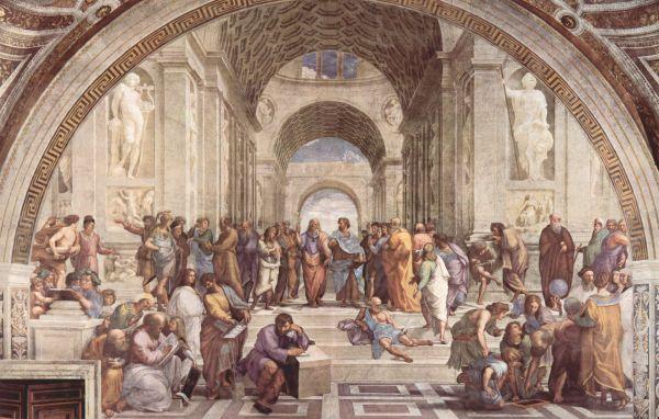 Наиболее выдающейся фреской считается «Афинская школа», символизирующая философию. На ней изображены свыше 20 знаменитых философов, включая Эпикура, Пифагора, Сократа, Диогена и многих других. В центре композиции расположены Платон и Аристотель.