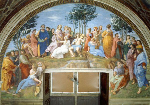Первым поручением Рафаэлю стала роспись станца делла Сеньятура Ватиканского дворца. Художник написал фрески на тему четырёх видов интеллектуальной деятельности человека: богословие, юриспруденцию, поэзию и философию.