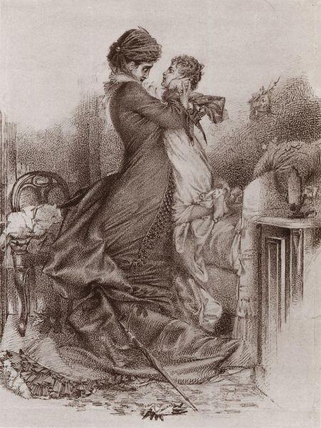 Иллюстрация к роману Льва Толстого стала одной из первых работ знаменитого художника-символиста Михаила Врубеля. Он нарисовал её будучи слушателем вечернего класса Академии художеств в 22 года.