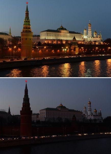 Московский Кремль сподсветкой ипосле еёотключения врамках акции «Час Земли».