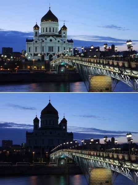 Храм Христа Спасителя доипосле наступления «Часа Земли».