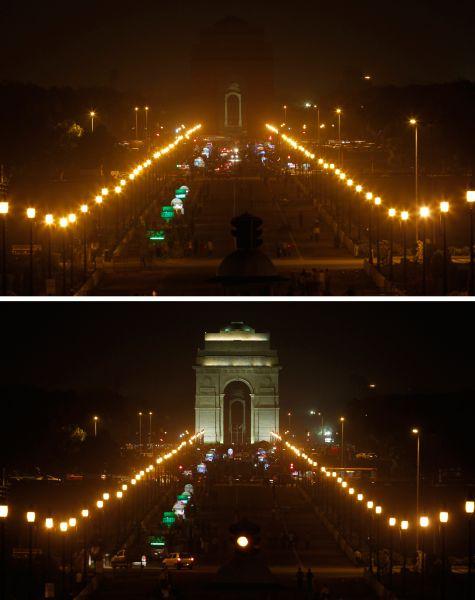 Ворота Индии вНью-Дели вовремя идонаступления «Часа Земли».