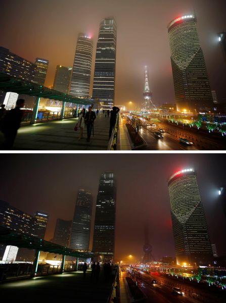 Деловой район Шанхая доипосле наступления «Часа Земли».