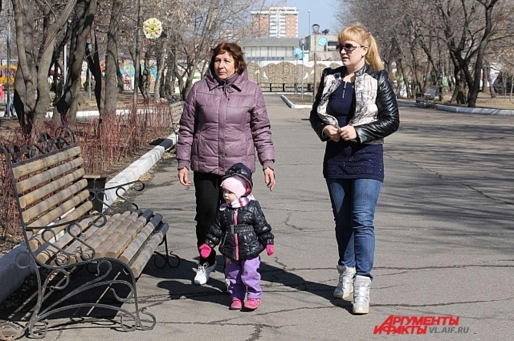 Самые частые гости парка - мамы с детьми.