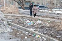 Растаявший снег обнажил кучи мусора.