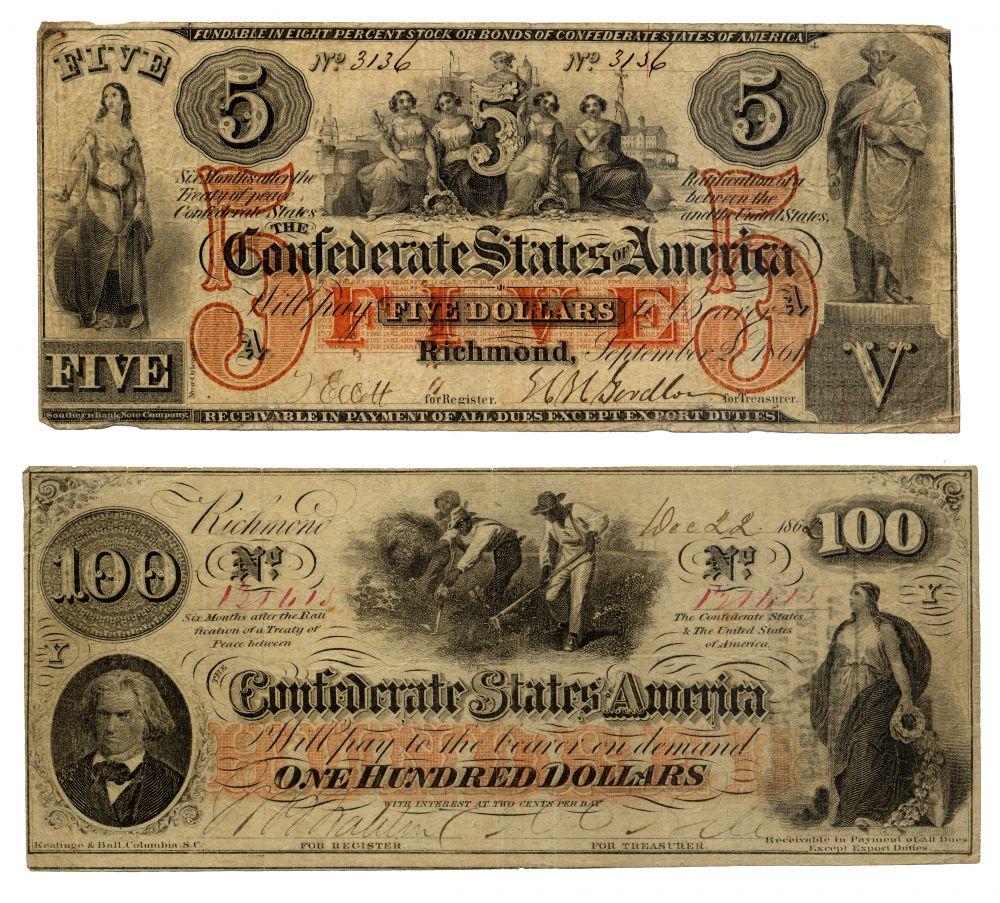 Доллар в США появились ещё в XVIII веке, но независимой валютой он стал позже когда во второй половине XIX века, когда самопровозглашённое государство Конфедеративные Штаты Америки начало выпуск собственной валюты.