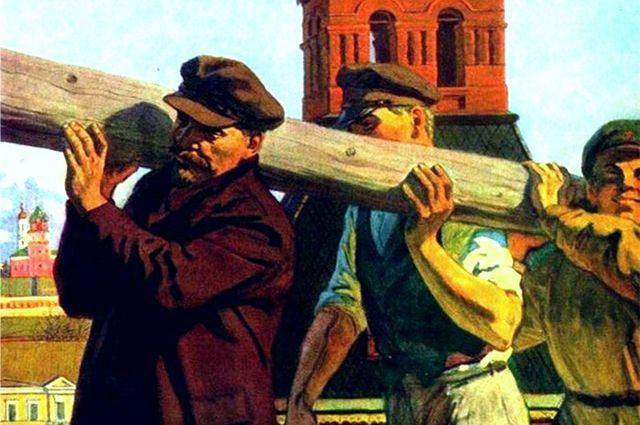 Репродукция картины В. С. Иванова «Ленин на Всероссийском субботнике в Кремле».