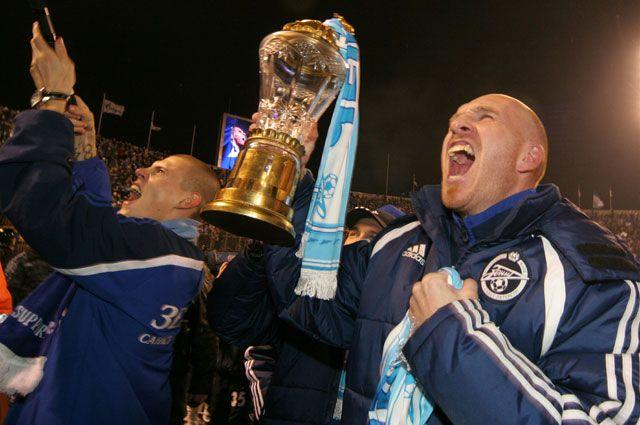 Эрик Хаген после победы ФК «Зенит» в первенстве России. 2007 год.