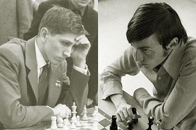 Роберт Фишер и Анатолий Карпов.