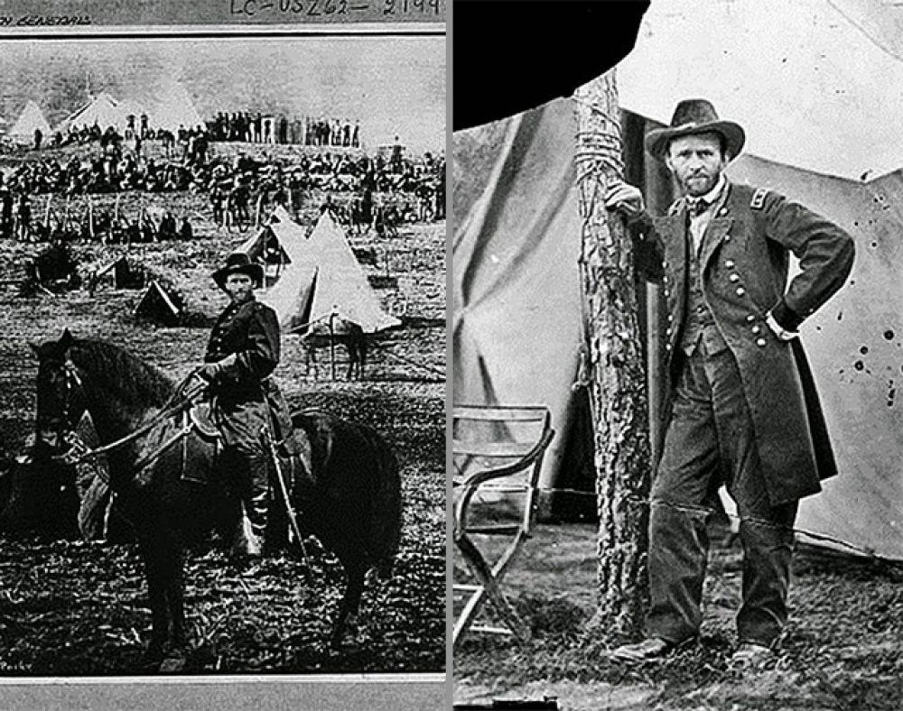 Примерно в то же время была растиражирована фотография генерала Улисса Гранта, сидящего на коне перед армией США, главнокомандующим которой он был назначен. Позже выяснилось, что эта фотография является монтажом трёх снимков, а лицо Гранта взято со вполне безобидной фотографии у палатки.