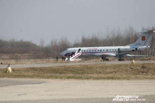 Самолет Владимира Путина, прибытие на аэродром