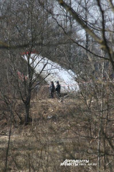 Сотрудники правоохранительных органов у крыла самолета.