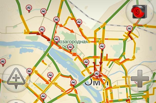 В Омске зафиксированы девятибалльные пробки.