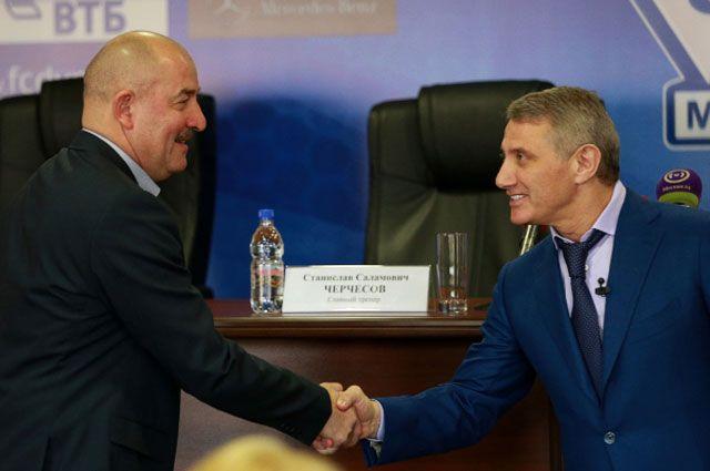 Станислав Черчесов и Борис Ротенберг перед пресс-конференцией, посвящённой назначению нового главного тренера ФК «Динамо».