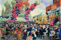 Фрагмент картины Бориса Кустодиева «Вербный торг у Спасских ворот на Красной площади в Москве», 1917 год.