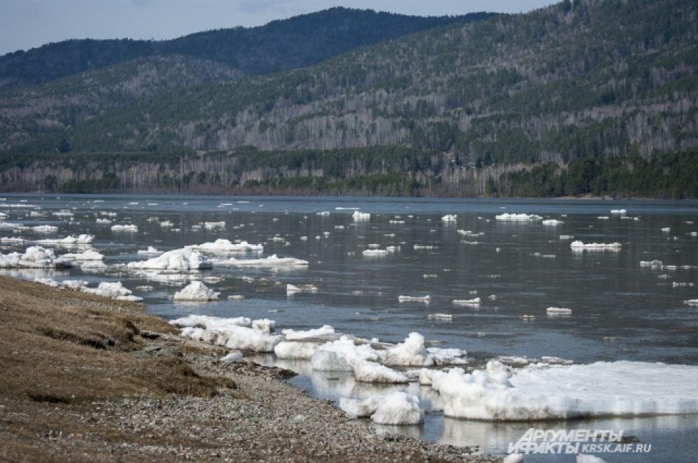 Лед по реке в текущем году пошёл рано из-за аномально тёплой погоды.