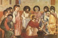 Христос умывает ноги Петру (Джотто, фреска в капелле Скровеньи).