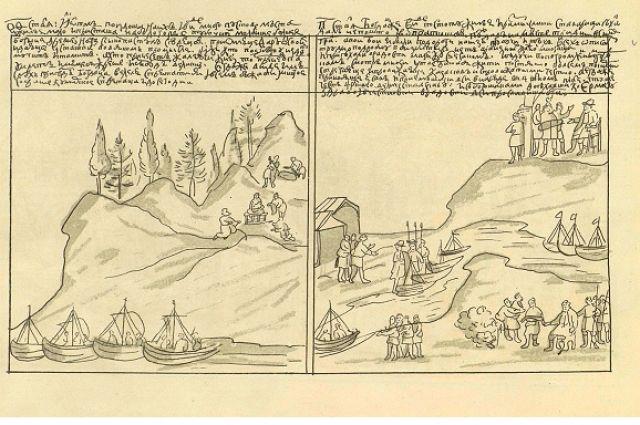 Посещение казаками Белогорья и их возвращение в Сибирь град (Искер).