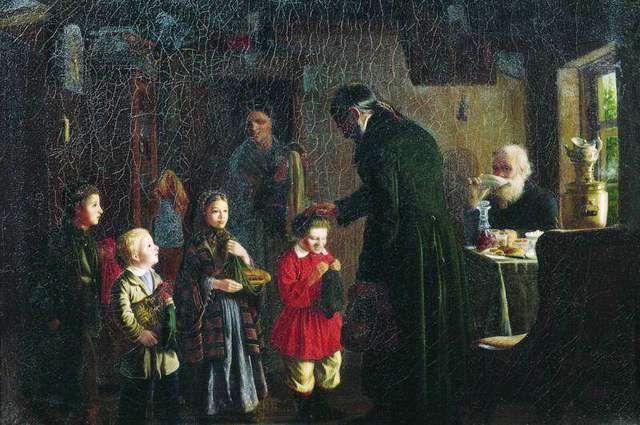 Леонид Соломаткин. «Именины дьячка». 1862 год.