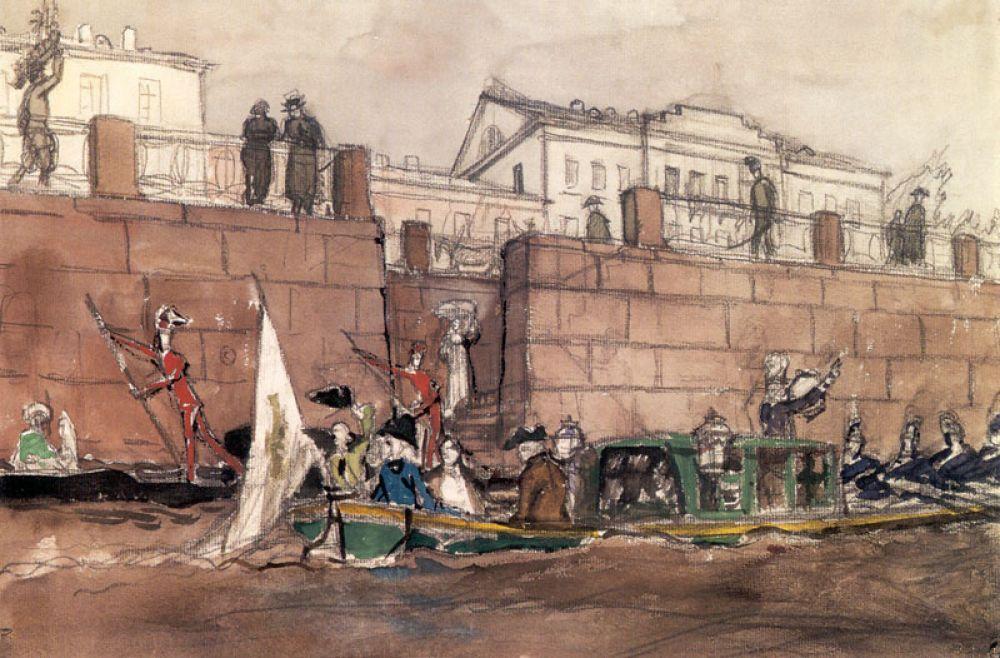 Тем не менее, именно в «Мире искусства» сформировался стиль Бенуа. Вместе с коллегами он считал, что в искусстве должна доминировать эстетика, а не техника, и тяготел к модерну и символизму.