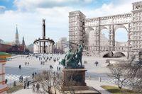 Во всех вариантах «улучшения» главной площади страны Кремль терялся на фоне новостроек.