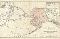 Карта Северо-Западной Америки 1867 года с показанием территорий, переданных Российской Империей Северо-Американским Соединенным Штатам.