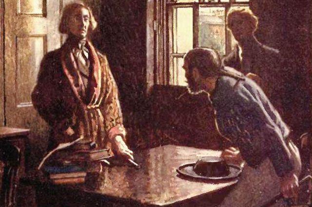 «Разговор Дюпена с матросом». Иллюстрация Байэма Шоу к рассказу Эдгара Аллана По «Убийство на улице Морг» 1909 год.