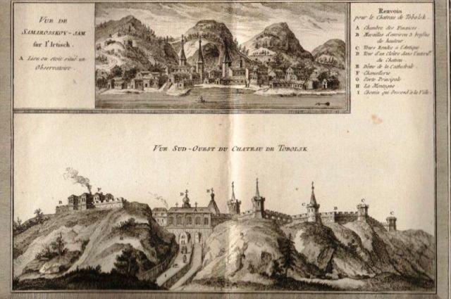 Самаровский ям (вверху) и Тобольск (внизу). Гравюра: Т. Кёнигсфельс (1740 г.)