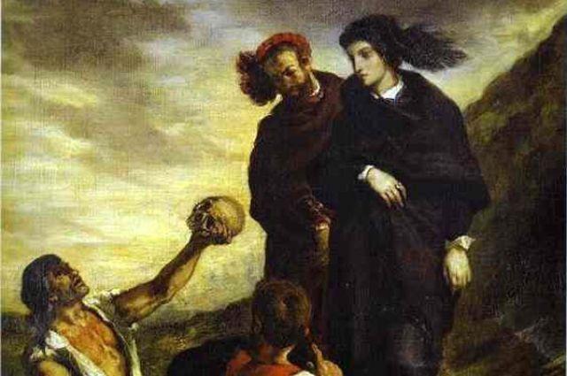 Гамлет и Горацио на кладбище. Эжен Делакруа. Фрагмент.