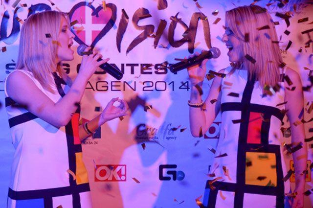 Мария и Анастасия Толмачевы на российском pre-party международного песенного конкурса Eurovision в Москве. 2014 год.