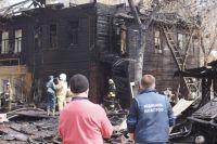 Деревянные постройки на ул.Буянова загорелись около 11 часов
