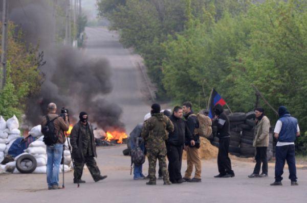 Силы самообороны Славянска перед штурмом города.