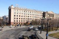 Дорога около площади Ленина в Хабаровске