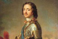 Петр I со знаком ордена Св. Андрея Первозванного на голубой андреевской ленте и звездой на груди.