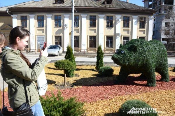 Рядом с остановкой на улице Бакинская в начале апреля мэрия установила зеленых медведей.