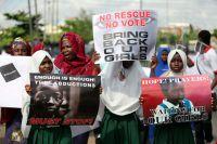 Акция протеста с требованием освободить более 200 школьниц, похищенных во время рейда исламистской группировки «Боко Харам» в селе Чибок на северо-востоке Нигерии.