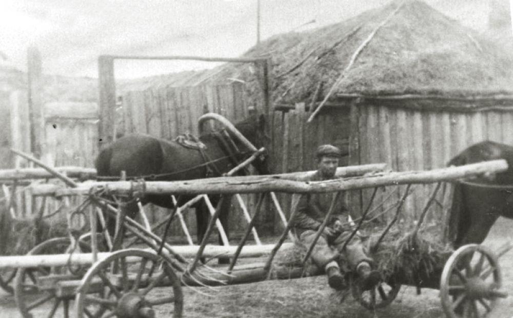 Колхозник на телеге и при лошади.