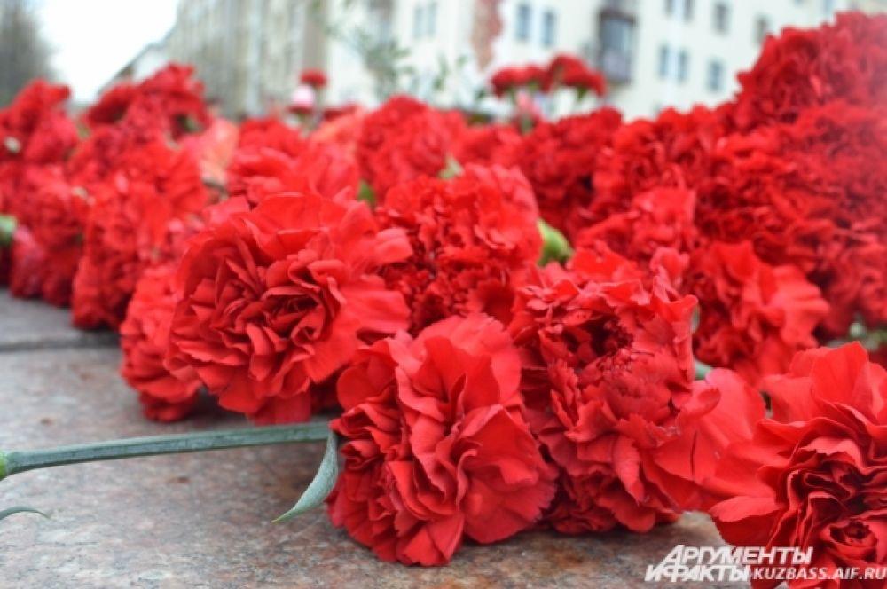 Красные гвоздики - символ благодарности и глубокого уважения к подвигу советских солдат.
