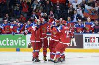 Игроки сборной России в матче группового раунда чемпионата мира по хоккею 2014 между сборными командами Финляндии и России.