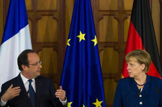 Канцлер ФРГ Ангела Меркель и президент Франции Франсуа Олланд.