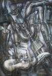 Уникальную особенность работам Гигера придаёт активное использование аэрографа. Художник был очень щепетилен к малейшим деталям и с помощью распыления краски мог добиться удивительного эффекта взаимодействия тени и света при очень высокой детализации изображения.