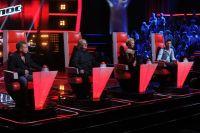 Съемки телепроекта «Голос». На снимке: певцы Леонид Агутин, Александр Градский, Пелагея Ханова и Дима Билан.