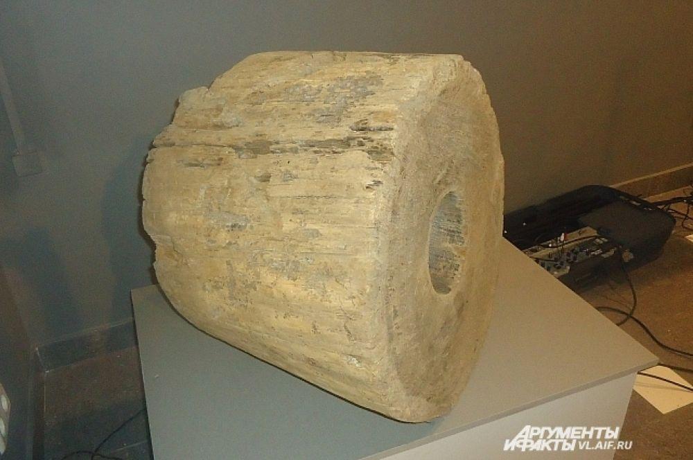 Фрагмент деревянной водопроводной трубы, найденной у Седанкинского водохранилища.