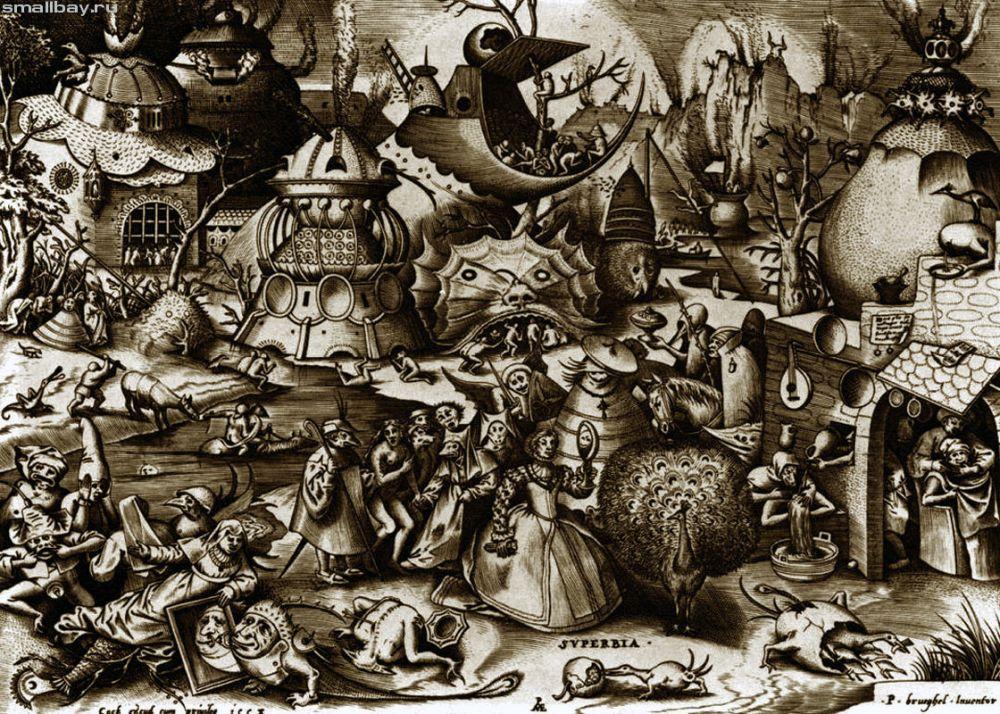 Питер Брейгель начал как график. В 1557 году художник написал цикл из семи гравюр со Смертными грехами. Художник обучался в мастерской Питера Кука ван Альста, придворного художника, в Антверпене. Здесь он  увидел работы Иеронима Босха и, находясь под большим впечатлением, стал рисовать собственные вариации на темы знаменитого художника.